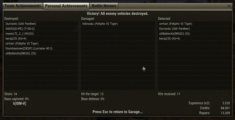 E-100 Sieg End of battle Screenshot